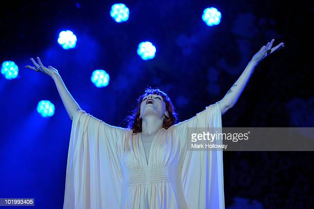 Florence Welch of Florence and the Machines performs on stage on the first day of the Isle OF Wight Festival at Seaclose Park on June 11 2010 in...