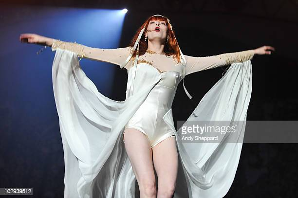 Florence Welch of Florence & The Machine performs on stage during day 1 of Latitude Festival 2010 at Henham Park Estate on July 16, 2010 in...