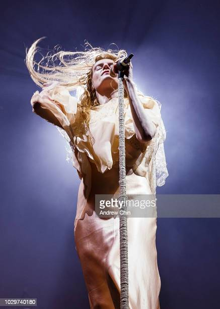 Florence Welch of Florence + the Machine performs on stage during Day 2 of SKOOKUM Festival at Stanley Park on September 8, 2018 in Vancouver, Canada.