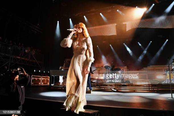 Florence Welch of Florence the Machine performs on the Lands End Stage during the 2018 Outside Lands Music And Arts Festival at Golden Gate Park on...