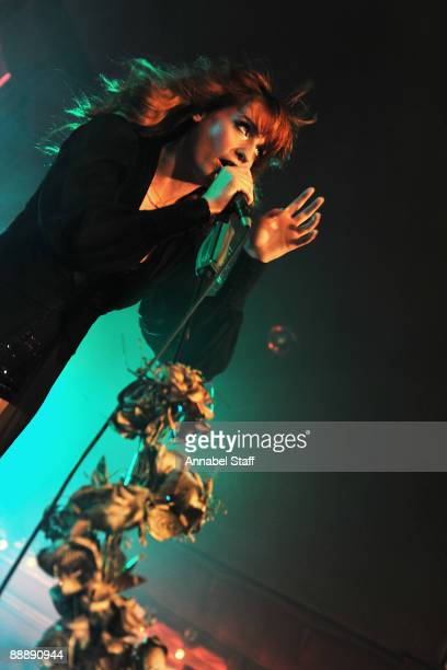 Florence Welch performs on stage at the launch party for the new album 'Lungs' at The Rivoli Ballroom on July 7 2009 in London England