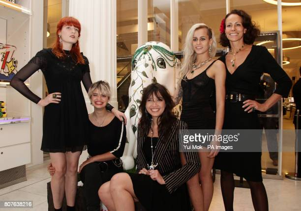 Florence Welch Pixie Geldof Alice Dellal Daisy Lowe and her mother Andrea Dellal pose by the 'Emerald Queen' elephant designed by Sabine Roemer and...