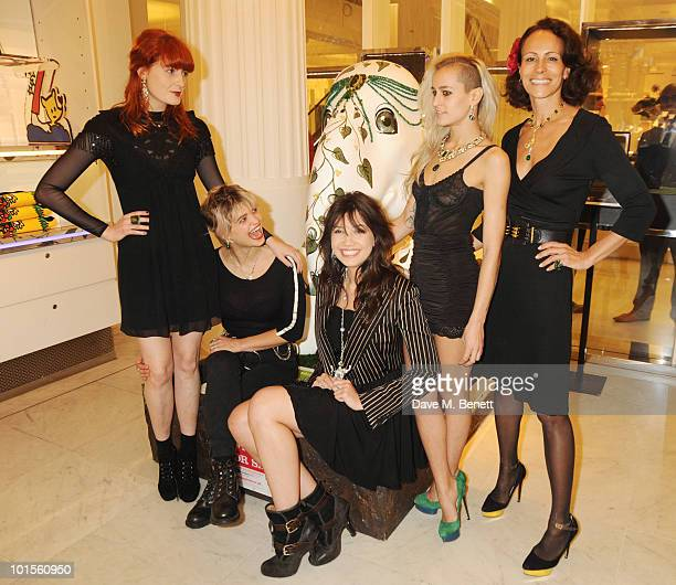 Florence Welch Pixie Geldof Daisy Lowe Alice Dellal and Andrea Dellal attend the Selfridges display of the Emerald Queen the most expensive of all...