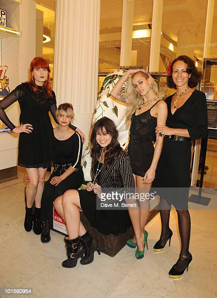 Florence Welch Pixie Geldof Daisy Lowe Alice Dellal and Andrea Dellal attend the Selfridges display of the 'Emerald Queen' the most expensive of all...