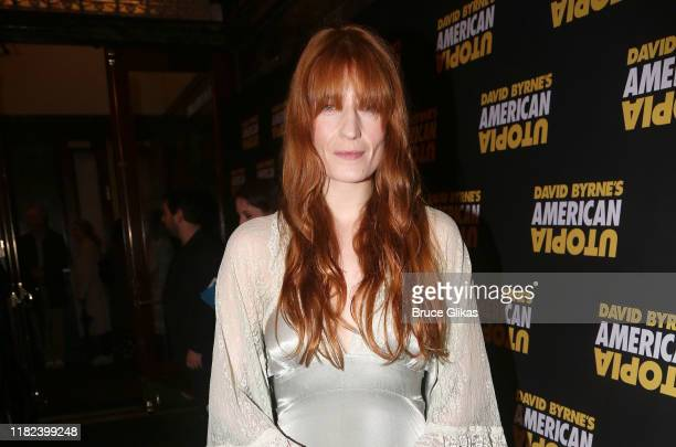 """Florence Welch poses at the opening night of the new David Byrne Theatrical Concert Musical Experience """"American Utopia"""" on Broadway at The Hudson..."""