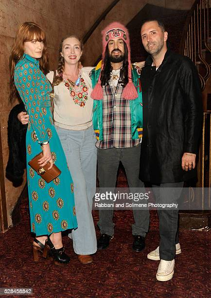 Florence Welch Rachel Feinstein Alessandro Michele and Vincent Haycock attend Florence And The Machine's Odyssey Screening at Village East Cinema on...