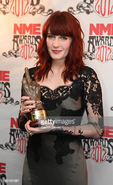 Florence Welch with her award at The NME Awards 2012 at The o2 Academy Brixton on February 29 2012 in London England