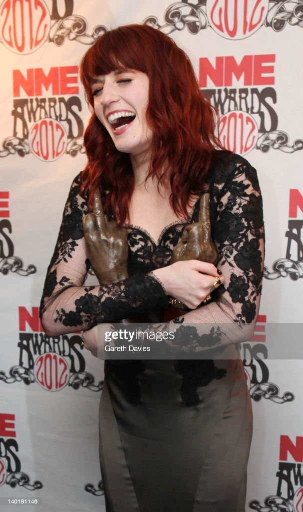 Florence Welch with her two awards at The NME Awards 2012 at The o2 Academy Brixton on February 29, 2012 in London, England.