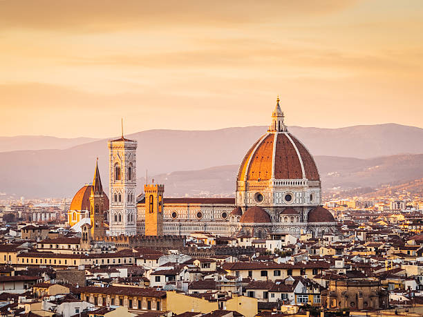 Florence's Cathedral And Skyline At Sunset Wall Art