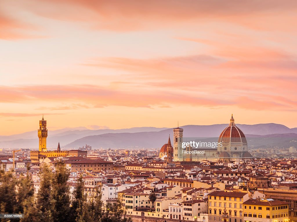 Florence's skyline at sunset : Stock Photo