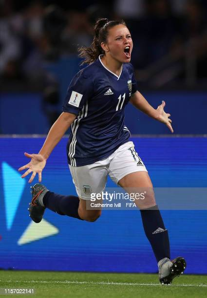 Florencia Bonsegundo of Argentina celebrates after scoring her team's third goal during the 2019 FIFA Women's World Cup France group D match between...