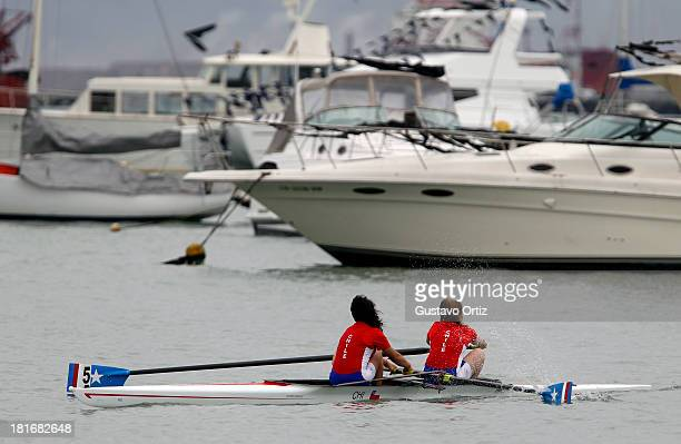 Florencia Gomez Ivars and Camila Javiera Uribe of Chile compete during the Women's Double Pair Qualifiation as part of the I ODESUR South American...