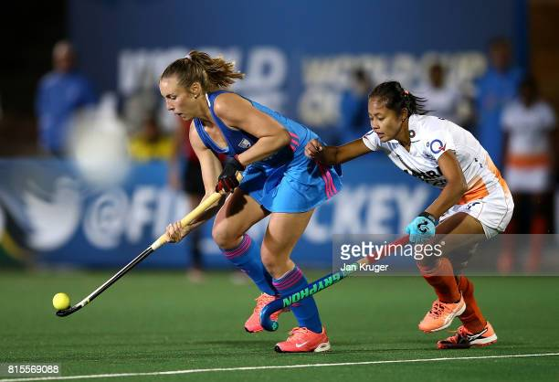 Florencia Habif of Argentina battles with Sushila Pukhrambam of India during day 5 of the FIH Hockey World League Women's Semi Finals Pool B match...