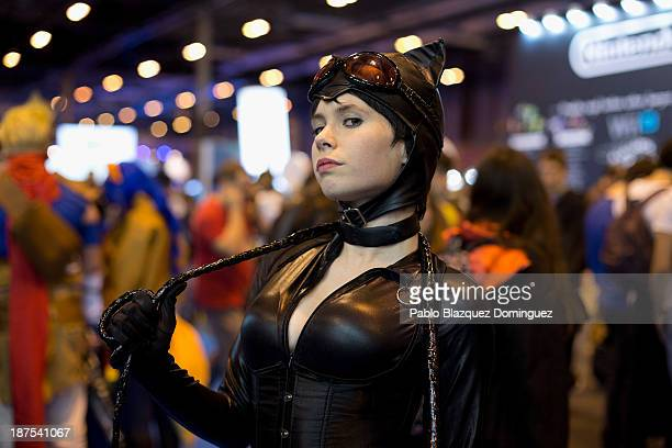 Florencia Muir dressed as 'Catwoman' poses for a portrait at Madrid Games Week in IFEMA on November 9 2013 in Madrid Spain Madrid's first edition of...