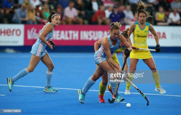 Florencia of Argentina during FIH Hockey Women's World Cup 2018 Day 11 match Quarter Final game 30 between Australia and Argentina at Lee Valley...