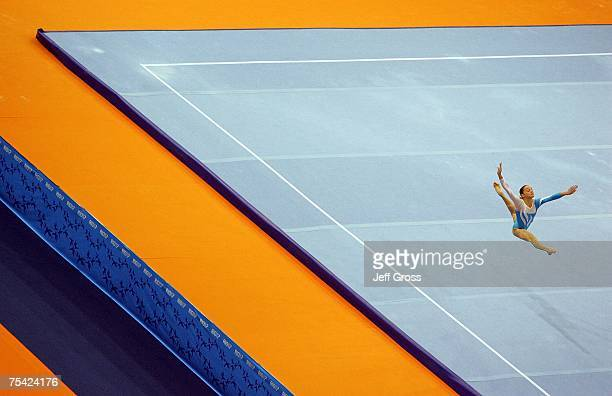 Florencia Salomon of Argentina competes in the floor exercise during the Women's Artistic Gymnastics Team Final at the 2007 XV Pan American Games at...