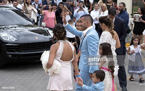 Florencia Tevez Lito Junior Tevez Carlos Tevez Katia Tevez and Vanesa Mansilla arrive to the San Isidro City Hall for the civil wedding ceremony of...