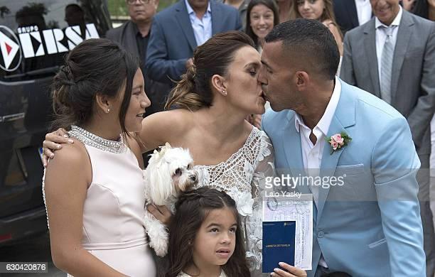 Florencia Tevez Vanesa Mansilla Carlos Tevez and Katia Tevez leave the San Isidro City Hall after the civil wedding ceremony of Carlos Tevez and...
