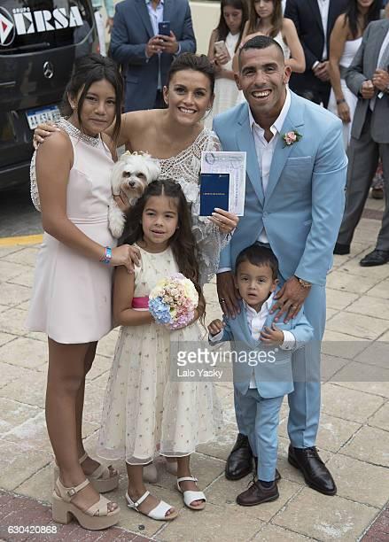 Florencia Tevez Vanesa Mansilla Carlos Tevez Katia Tevez and Lito Junior Tevez leave the San Isidro City Hall after the civil wedding ceremony of...