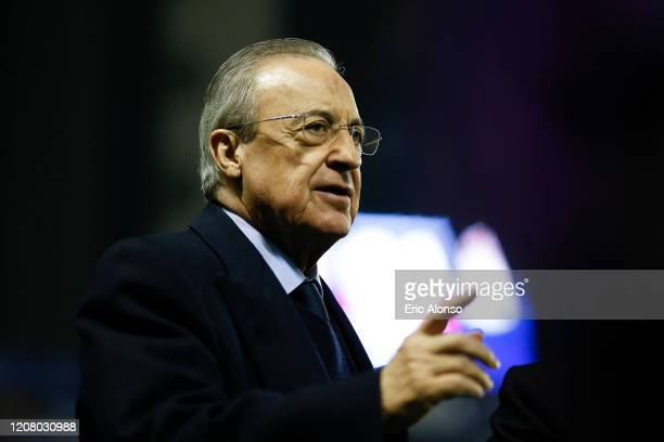 Florenitno Perez, president of Real Madrid prior the Liga match between Levante UD and Real Madrid CF at Ciutat de Valencia on February 22, 2020 in...
