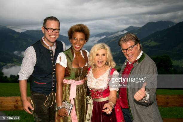 Florens Eblinger Arabella Kiesbauer Marianne Hartl and Adolf Michael Hartl during the 14th Almrauschparty at Rosi's Sonnbergstuben on August 4 2017...