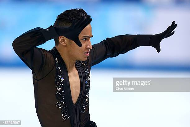 Florent Amodio of France competes in the Figure Skating Men's Short Program during the Sochi 2014 Winter Olympics at Iceberg Skating Palace on...