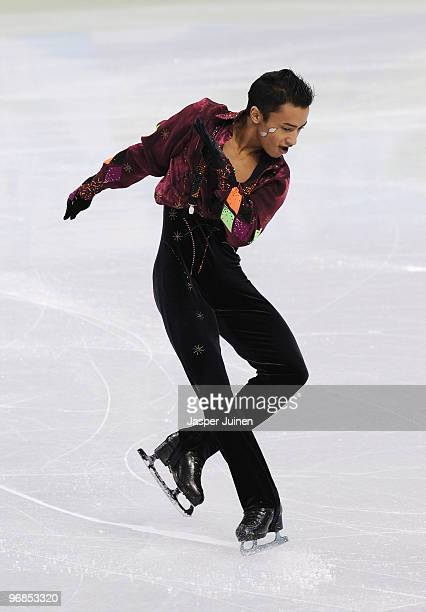 Florent Amodio of France competes in the men's figure skating free skating on day 7 of the Vancouver 2010 Winter Olympics at the Pacific Coliseum on...