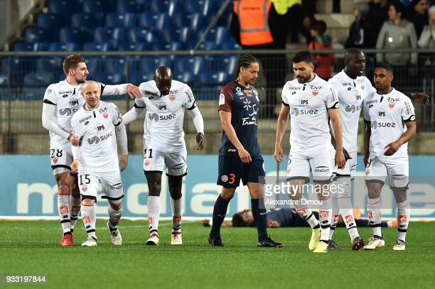 Florent Balmont and players of Dijon celebrate the second goal of Wesley Said during the Ligue 1 match between Montpellier Herault SC and Dijon FCO...