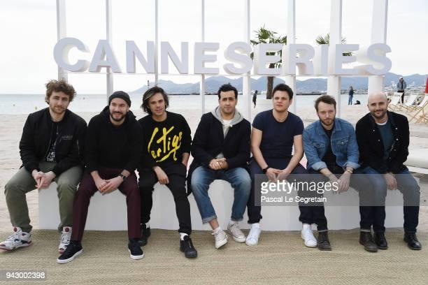 Florent Bernard Kyan KhojandiOrelsan Jonathan Cohen guests and Harry Tordjman attend a photocall during the 1st Cannes International Series Festival...