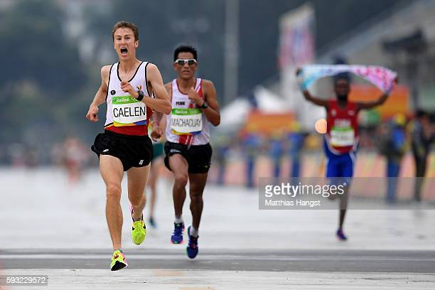 Florent Caelen of Belgium races to the finish line during the Men's Marathon on Day 16 of the Rio 2016 Olympic Games at Sambodromo on August 21 2016...
