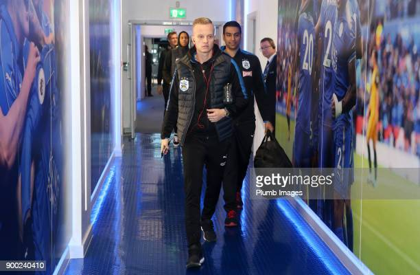 Florent Hadergjonaj of Huddersfield arrives at King Power Stadium ahead of the Premier League match between Leicester City and Huddersfield at King...