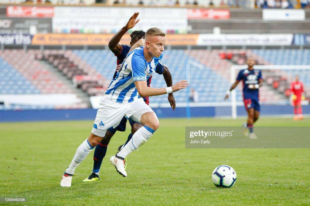 Florent Hadergjonaj of Huddersfield Town during the Huddersfield Town v Olympique Lyonnais - Pre-Season Friendly at John Smith's Stadium on July 25, 2018 in Huddersfield, England.