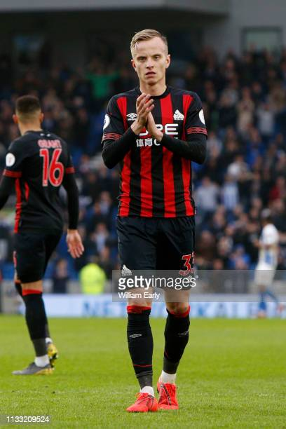 Florent Hadergjonaj of Huddersfield Town during the Premier League match between Brighton Hove Albion and Huddersfield Town at American Express...