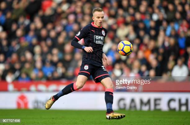 Florent Hadergjonaj of Huddersfield Town during the Premier League match between Stoke City and Huddersfield Town at Bet365 Stadium on January 20...