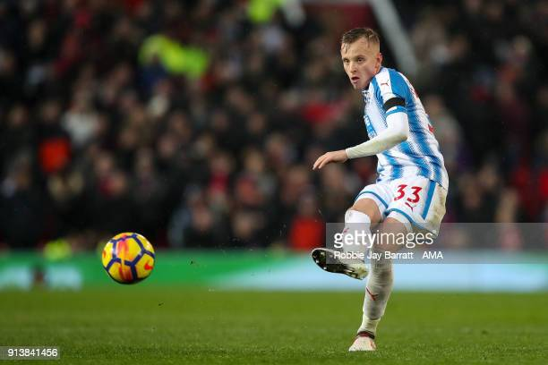 Florent Hadergjonaj of Huddersfield Town during the Premier League match between Manchester United and Huddersfield Town at Old Trafford on February...