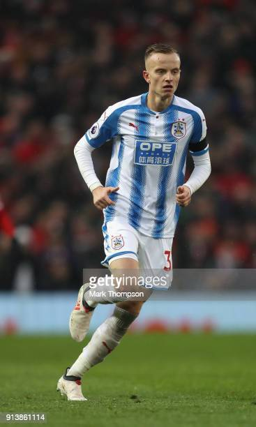 Florent Hadergjonaj of Huddersfield Town in action during the Premier League match between Manchester United and Huddersfield Town at Old Trafford on...