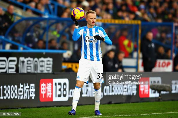 Florent Hadergjonaj of Huddersfield Town prepares to take a throw in during the Premier League match between Huddersfield Town and Southampton FC at...