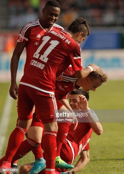 Florent Hadergjonaj of Ingolstadt celebrates scoring the second goal during the Bundesliga match between FC Ingolstadt 04 and 1 FSV Mainz 05 at Audi...