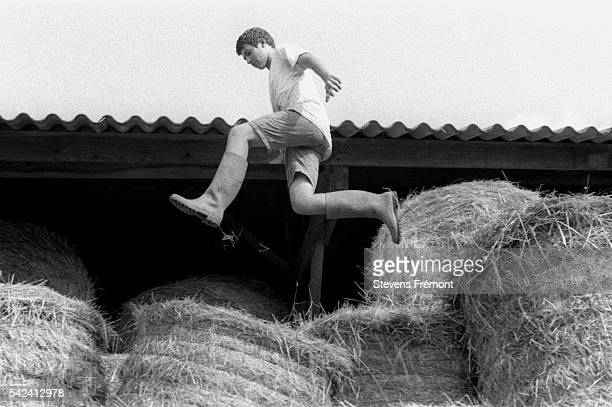 Florent Legare at his post on the bundles of straw