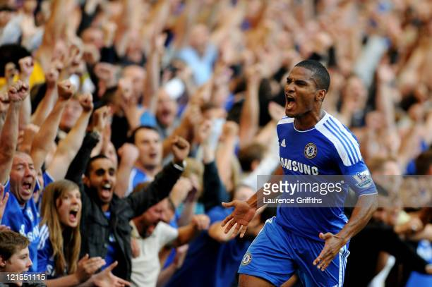 Florent Malouda of Chelsea celebrates after scoring his team's second goal during the Barclays Premier League match between Chelsea and West Bromwich...
