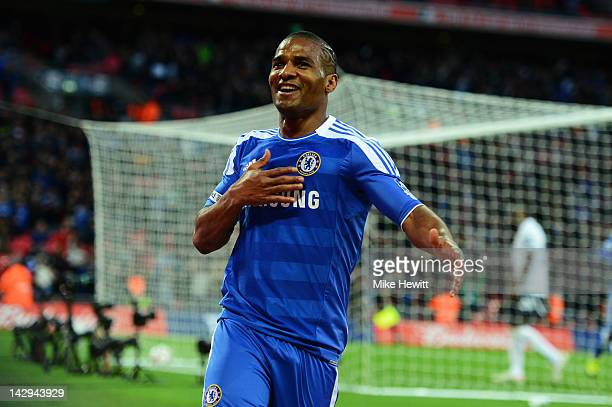 Florent Malouda of Chelsea celebrates as he scores their fifth goal during the FA Cup with Budweiser Semi Final match between Tottenham Hotspur and...