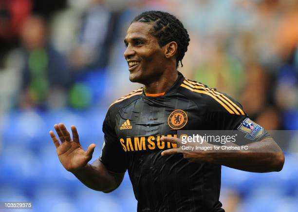 Florent Malouda of Chelsea celebrates as he scores their first goal during the Barclays Premier League match between Wigan Athletic and Chelsea at DW...
