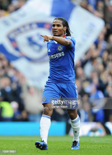 Florent Malouda of Chelsea celebrates scoring the opening goal during the Barclays Premier League match between Chelsea and Wolverhampton Wanderers...