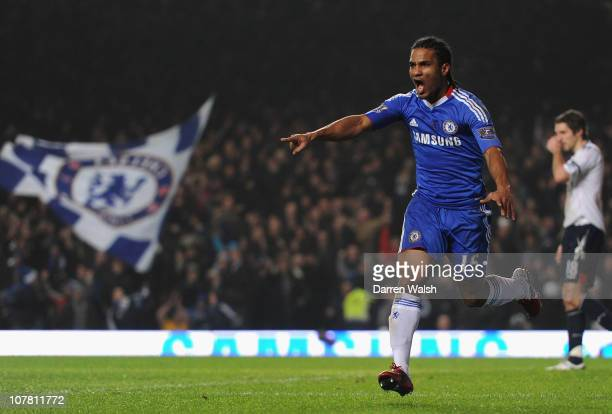 Florent Malouda of Chelsea celebrates scoring the opening goal during the Barclays Premier League match between Chelsea and Bolton Wanderers at...
