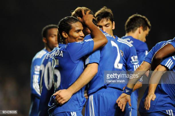 Florent Malouda of Chelsea celebrates scoring the second goal during the Carling Cup 4th Round match between Chelsea and Bolton Wanderers at Stamford...