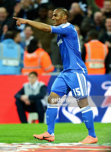 Florent Malouda of Chelsea celebrates scoring their fifth goal during the FA Cup with Budweiser Semi Final match between Tottenham Hotspur and...