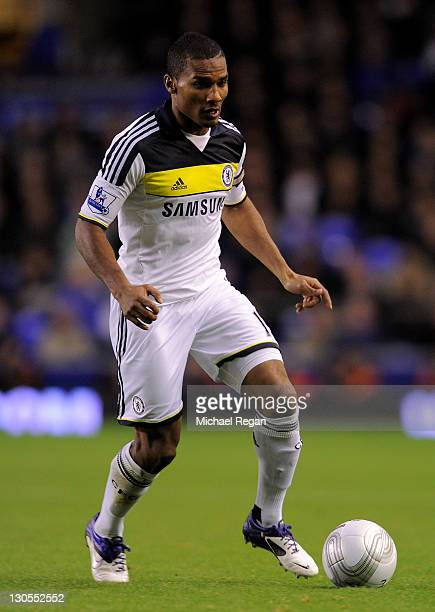 Florent Malouda of Chelsea in action during the Carling Cup Fourth Round match between Everton and Chelsea at Goodison Park on October 26 2011 in...