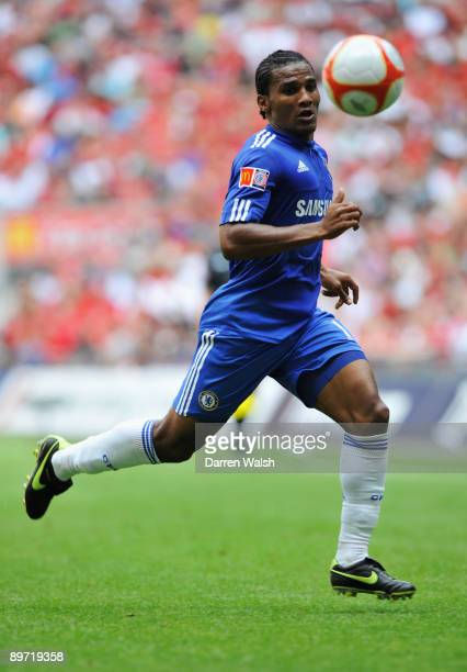 Florent Malouda of Chelsea in action during the FA Community Shield match between Manchester United and Chelsea at Wembley Stadium on August 9 2009...