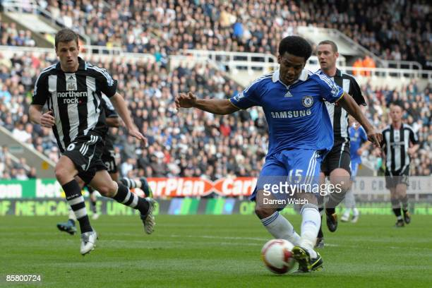 Florent Malouda of Chelsea scores his team's second goal during the Barclays Premier League match between Newcastle United and Chelsea at St James'...