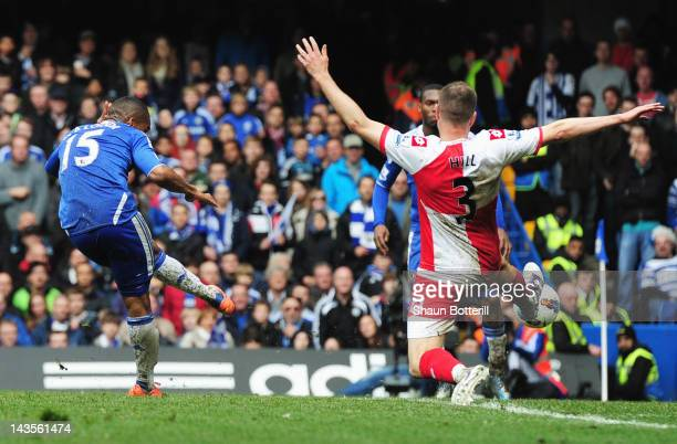 Florent Malouda of Chelsea scores their sixth goal during the Barclays Premier League match between Chelsea and Queens Park Rangers at Stamford...